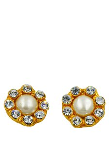 Chanel Chanel Vintage Large Pearl with Clear Rhinestones Gold Clip On Earring