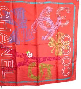 Chanel NWT Chanel Red Coco Chanel Scarf 100% Silk 34