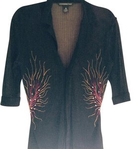 Vivienne Tam Top Black with red and yellow
