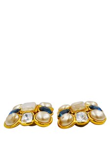 Chanel Chanel Gold Tone Blue and Clear Crystal Pearl Accent Clip On Earring