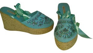 Pierre Dumas Ribbon Satin Beaded Aqua Blue Wedges