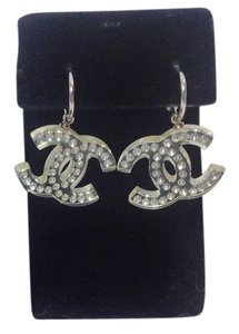 Chanel NWT Chanel Lucite CC Logo Earrings With Swarovski Crystals Silver