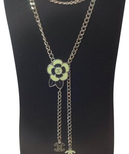 Chanel Chanel Black White Camelia Flower CC Logo Silver Chain Belt Necklace