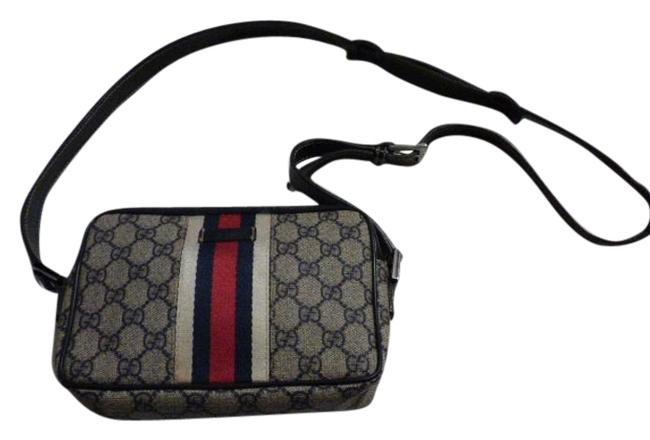 Gucci Purses/Designer Purses Navy Large G Logo Print & Navy Leather with A Wide Red & Navy Stripe Coated Canvas Cross Body Bag Gucci Purses/Designer Purses Navy Large G Logo Print & Navy Leather with A Wide Red & Navy Stripe Coated Canvas Cross Body Bag Image 1