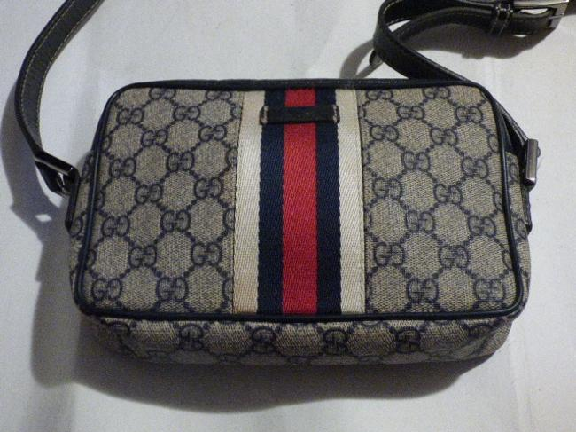 Gucci Purses/Designer Purses Navy Large G Logo Print & Navy Leather with A Wide Red & Navy Stripe Coated Canvas Cross Body Bag Gucci Purses/Designer Purses Navy Large G Logo Print & Navy Leather with A Wide Red & Navy Stripe Coated Canvas Cross Body Bag Image 2