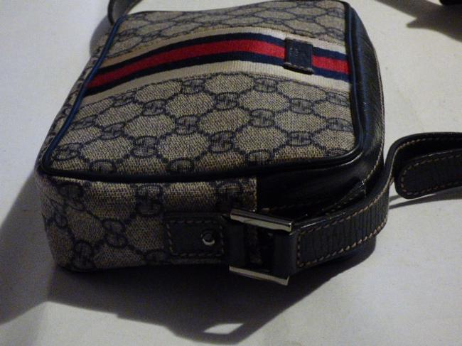 Gucci Purses/Designer Purses Navy Large G Logo Print & Navy Leather with A Wide Red & Navy Stripe Coated Canvas Cross Body Bag Gucci Purses/Designer Purses Navy Large G Logo Print & Navy Leather with A Wide Red & Navy Stripe Coated Canvas Cross Body Bag Image 4