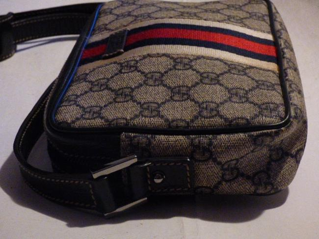 Gucci Purses/Designer Purses Navy Large G Logo Print & Navy Leather with A Wide Red & Navy Stripe Coated Canvas Cross Body Bag Gucci Purses/Designer Purses Navy Large G Logo Print & Navy Leather with A Wide Red & Navy Stripe Coated Canvas Cross Body Bag Image 7