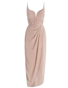 ZIMMERMANN Lily Silk Blush Pink Silk Drape Long Dress Dress