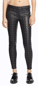 Rag & Bone Leather Studded Skinny Pants black