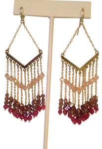 Nakamol Shades Of Pink Czech Crystal Chevron Earrings