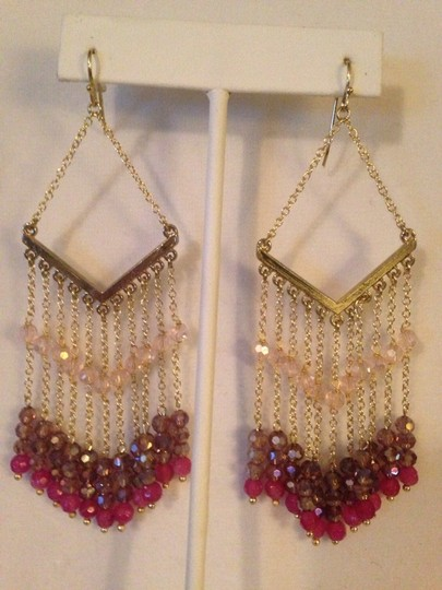 Nakamol Shades Of Pink Czech Crystal Chevron Earrings Image 1