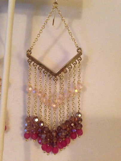 Nakamol Shades Of Pink Czech Crystal Chevron Earrings Image 2
