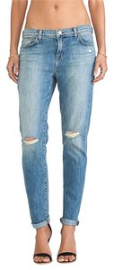 J Brand Distressed Medium Wash Boyfriend Cut Jeans-Medium Wash