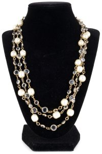 Chanel Chanel Long Vintage Pearl And Crystal Necklace