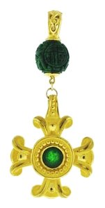 Other 24k Gold Carved Jadeite Bead & cabochon cross pendant