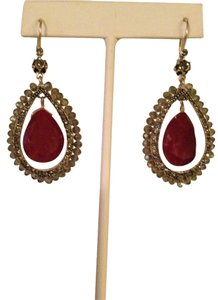 Nakamol NWOT Faceted Ruby Gemstone & Czech Crystal Earrings