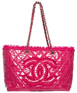 0c92d4990981 Chanel Quilted Funny Pink Tweed & Pvc Tote - Tradesy