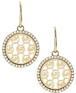 Michael Kors Nwt Mother-of-Pearl Crystal-Framed Logo Disc Gold-Tone Drop Earrings