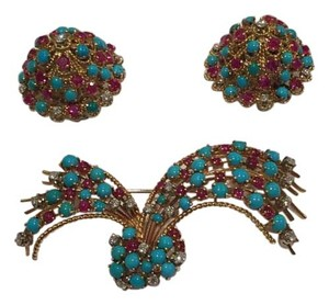 Other Vintage Nardi 18KT Yellow Gold Turquoise Diamond Ruby Earrings Pin Set