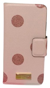 Kate Spade NEW!!! Tags Pink Polka Dot Glitter Leather iphone 6 Phone Case