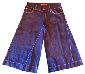 Level 99 Luxury Eclectic Linen Retro Capris Blue