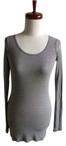 Vince Long Sleeve Knit Tunic T Shirt gray