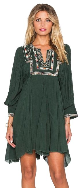 Item - Emerald Green Bohemian Tribal Embroidered Short Casual Dress Size 12 (L)
