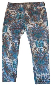 jcp Structured Comfortable Ankle Floral Print Skinny Pants Multi-Colored