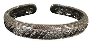Judith Ripka Judith Ripka Sterling Silver Diamonique Pave Cuff Hinged Bracelet