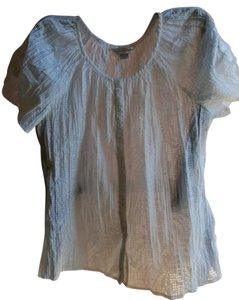 Christopher & Banks Polyester Cotton Elasticized Neck Prairie Top White