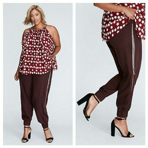 Lane Bryant Joggers 2x 3x Plus Size Boyfriend Pants burgundy