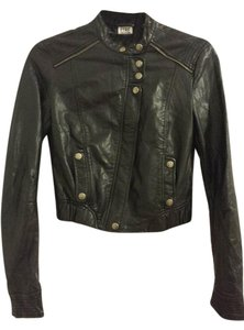 Zara Zippered Cropped Faux Leather Leather Jacket