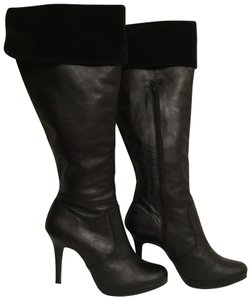 Klub Nico Leather Suede Dress Platform Knee High Black Boots