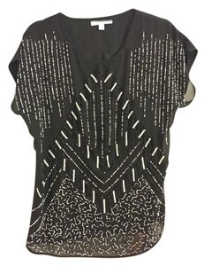 Piperlime Beaded Sheer Top Black