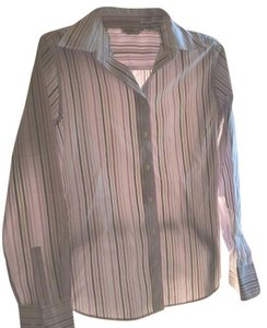 Eddie Bauer Wrinkle Resistant Long Sleeves 100% Cotton Button Down Shirt Brown white stripe