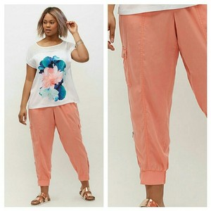 Lane Bryant 2x 3x Plus Size Pants Capris soft coral