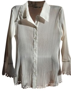 Cato Dressy Long Sleeve Evening Wear Polyester Button Down Shirt White
