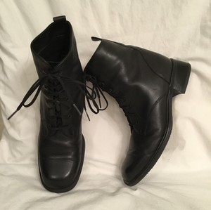 Santana Canada Leather Leather Military Ankle Black Boots
