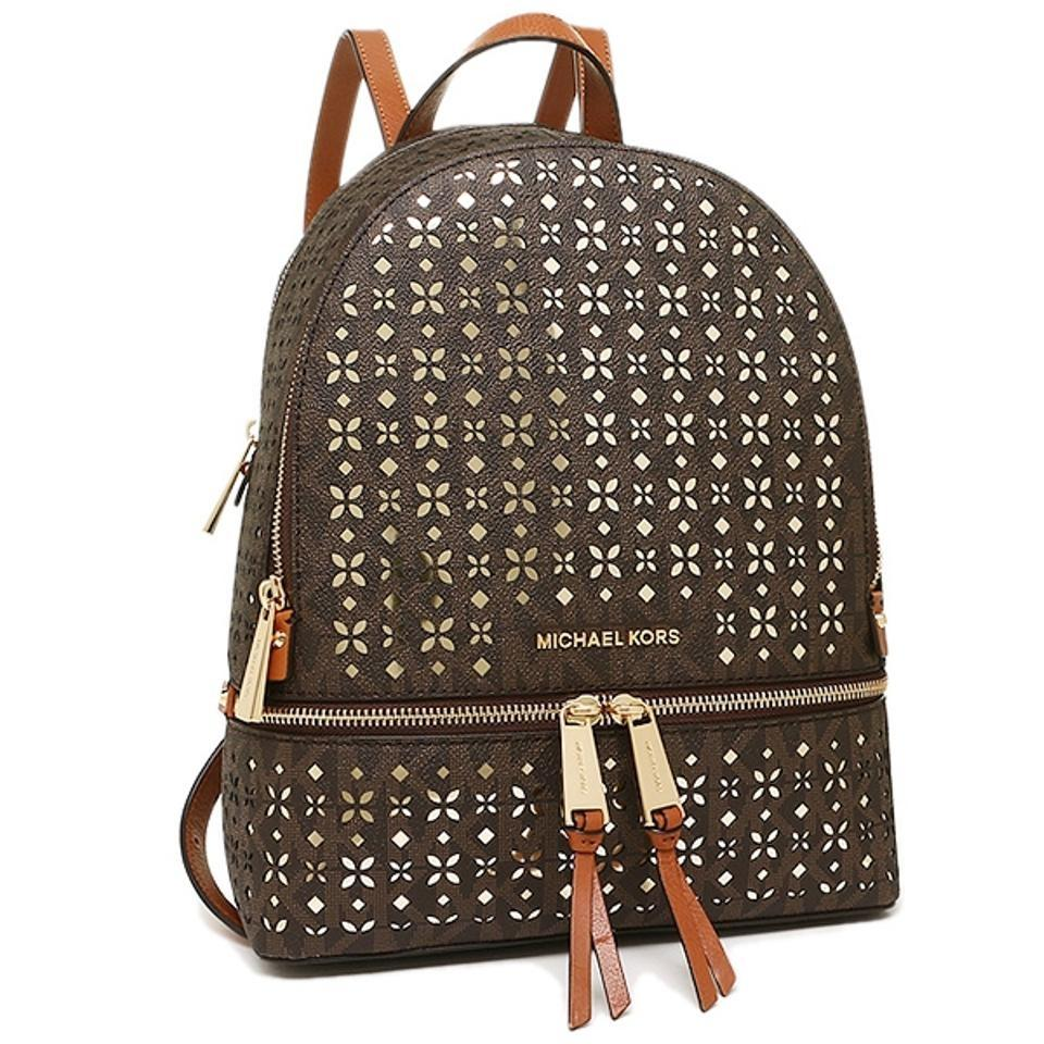 9feca977718e ... shopping michael kors leather gold hardware floral perforated backpack.  12345678 162a6 4c15e