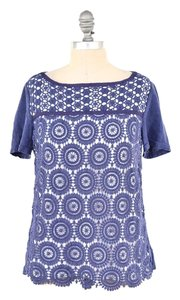 Tory Burch Linen Knit Eyelet Boxy T Shirt Blue