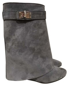 Givenchy Shark Lock Suede Ankle Bootie grey Boots
