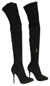 Balmain Catherina Suede Thigh High Over The Knee Stiletto black Boots