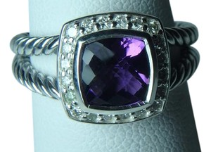 David Yurman size 6 Albion Petite Ring in Amethyst With Pave Diamonds
