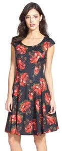 Betsey Johnson Fit And Flare Cap Sleeves Rose Print Desk To Dinner Dress