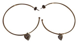 Juicy Couture E-Pave Heart Large Hoop Earrings