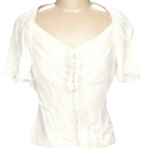 Byron Lars Beauty Mark Silk Ruffle Top Ivory