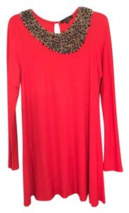 T-Bags Los Angeles short dress Red Beaded Embellished Comfortable on Tradesy