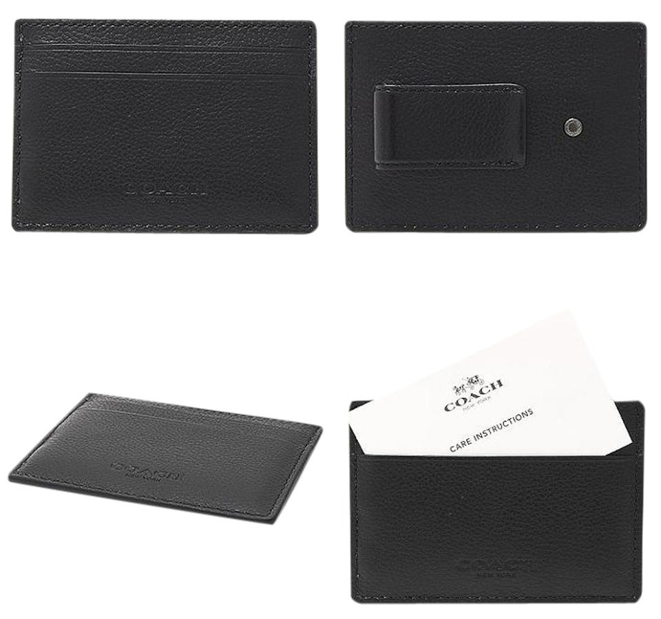 Coach Black New Men\'s Leather Business Card Case Holder Money Clip ...