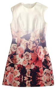 Finders Keepers Floral White Mini Pink Rose Dress