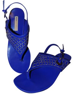 Dana Buchman Signature Chunky Structured Embellished Silverescent Cobalt Blue Sandals